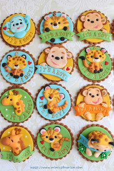 Animal Baby Shower Fondant Cupcake Toppers by mimicafe Union http://www.mimicafeunion.com