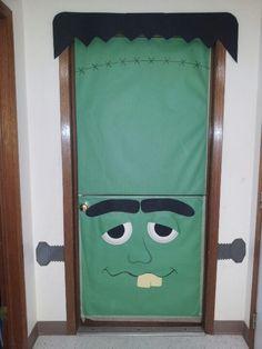 Dutch door Halloween Frankenstein door for Halloween day care & Bride of Frankenstein door | Bulletin Boards and Door Decorations ...