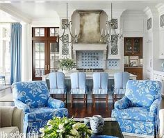 Inside the home delft blue can help create a coastal vibe. Use a little or a lot. Fabrics and pillows are a great way to introduce a little delft into a room.