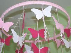 Make this Pottery Barn inspired girl's bedroom chandelier #butterfly #mobile