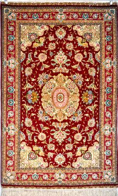 Salari Tabriz Royal Red Pair Zaro Nim 65 Raj Silk Persian Rug - Item# EK-72 Size: 98 x 152 (cm) 3' 2 x 4' 11 (ft)