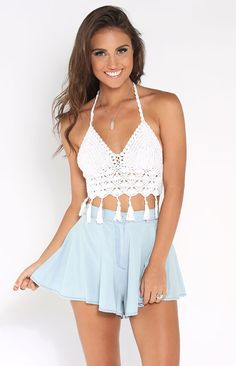 Andi Bagus Tassel Halter Top White | Beginning Boutique shop new @ www.bb.com.au/new