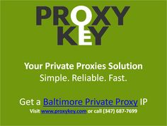 We provide high speed, dedicated private http proxies and unparalleled USA-based support. Give us a call at 347-68-PROXY and speak with a representative today! https://www.proxykey.com/md-proxies