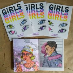 GIRLS. 20 pages, full colour risograph booklet