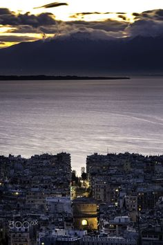 The city of Thessaloniki at dusk - In Macedonia, northern Greece, Mt Olympus in the background. Photography by Konstantinos Tls. Hotels, Greek Islands, Greece Travel, Strand, Places To See, Tourism, Beautiful Places, Scenery, Cool Pictures