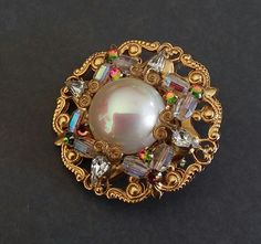 Pearl Brooch in the Haskell Style by FromABygoneTime on Etsy