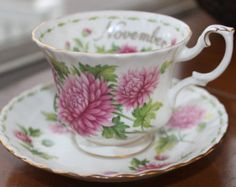 """Vintage China Tea Cup and Saucer Royal Albert Fine Bone """"Flower of the Month- November"""""""