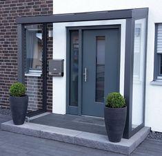 Front Door Canopy, Front Door Porch, Porch Doors, Windows And Doors, Front Driveway Ideas, Driveway Design, Modern Entrance Door, House Entrance, External Front Doors