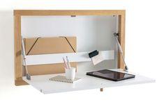 Folding wall desk: 15 clever foldable furniture - New Deko Sites Diy Bureau, Fold Down Desk, Folding Walls, Folding Furniture, Wall Desk, Office Stationery, Space Saving Furniture, Storage Hacks, Room Organization