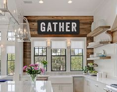 Bring a little fixer upper flair into your home with this vintage-look canvas GATHER sign for your home or kitchen - did someone say #shiplap?