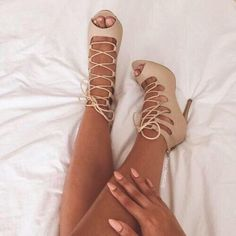 Nude lace up strappy heels! never worn! in box & brand new! super cuteeeeeeee!!! Public desire Shoes Heels