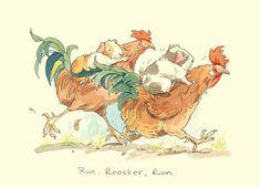 Rooster art by Anita Jeram, on greeting card Art And Illustration, Chicken Illustration, Arte Do Galo, Anita Jeram, Rooster Art, Chicken Art, Whimsical Art, Penny Black, Guinea Pigs