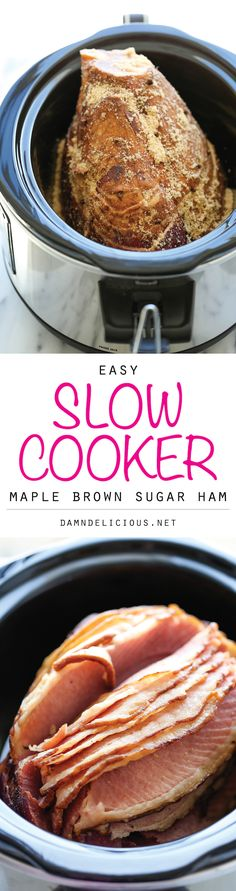 Slow Cooker Maple Brown Sugar Ham - The easiest, most tender, juicy ham made right in the crockpot with just 5 min prep. And you save on oven space too! (baking ham in crockpot) Crockpot Dishes, Crock Pot Slow Cooker, Crock Pot Cooking, Pork Dishes, Slow Cooker Recipes, Freezer Cooking, Crockpot Meals, Freezer Meals, Ham Recipes