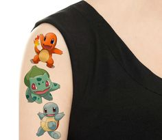 Temporary Tattoo -  Pokemon Set or Single Pokemon/ Charmander / Squirtle / Bulbasaur / Butterfree / Vaporeon / Pikachu by TattooNbeyond on Etsy https://www.etsy.com/listing/468260815/temporary-tattoo-pokemon-set-or-single