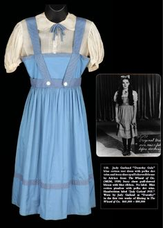 """This is what I want but all blue gingham. I want to make a legit Dorothy Gale costume """"Judy Garland blue cotton test dress with polka dot trim and ivory blouse from The Wizard of Oz"""" Judy Garland, Wizard Of Oz 1939, Dorothy Gale, Dorothy Oz, Hollywood Costume, Broadway, Debbie Reynolds, The Worst Witch, Costume Collection"""