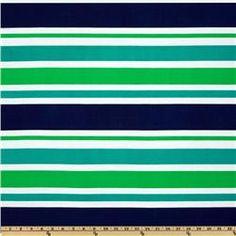 Stretch ITY Jersey Knit Stripes Green/Navy