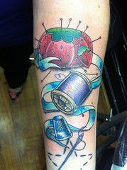 Sewing Themed Tattoo with Classic Pincushion