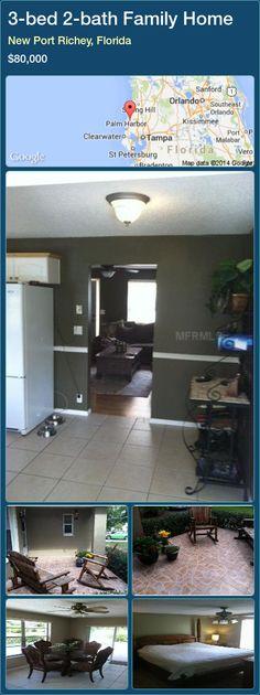 3-bed 2-bath Family Home in New Port Richey, Florida ►$80,000 #PropertyForSaleFlorida http://florida-magic.com/properties/41272-family-home-for-sale-in-new-port-richey-florida-with-3-bedroom-2-bathroom