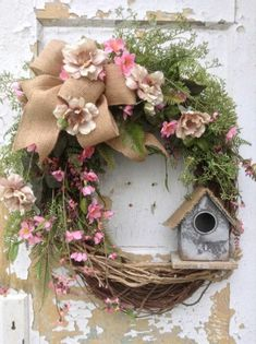 Spring Wreath Easter Wreath Summer Wreath Front Door Wreath with Birdhouse Rustic Wreath Rustic Decor FlowerPowerOhio Diy Spring Wreath, Spring Crafts, Spring Wreaths For Front Door Diy, Spring Projects, Wreath Crafts, Diy Wreath, Wreath Ideas, Diy Crafts, Wreath Burlap