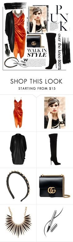 """""""Punk rocker 🤘🏼"""" by cool-cute ❤ liked on Polyvore featuring Lands' End, Boohoo, City Chic, Gianvito Rossi, Valentino, Gucci, Chantecaille and Hot Topic"""