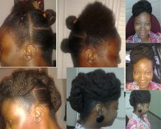 Faux bun!   1-section hair  2-Add kinky matching hair as desired  3-Pins up the hair (Bobby pins etc.)   Hairdo steps - by section