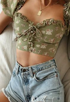 Bazaleas Chic Green Floral Print Cotton ropa mujer Fashion Back Zipper blouse women harajuku Vintage Bandage Blouse Mode Outfits, Girly Outfits, Pretty Outfits, Fashion Outfits, Converse Outfits, Crop Top Outfits, Tumblr Outfits, Short Outfits, Fashion Clothes