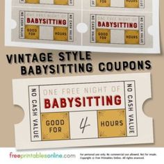 Free downloadable babysitting coupon might start giving these to vintage style free babysitting coupon template yadclub Image collections