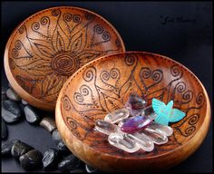 """I hand burned the designs into the wooden bowls. They are """"Meditation"""" bowls. Each morning rocks or trinkets of any kind can be placed in the bowl to be near you, to mediate on, or remember things,..."""