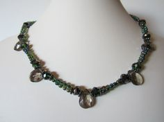 Spring Smoky and gunmetal necklace with  free pair of by yasmi65, $26.00