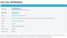 SBT Thiruvananthapuram IFSC Code For all SBT #IFSCCode and #MICR Code and branch addresses visit: http://www.bankbazaar.com/ifsc-code/state-bank-of-travancore.html