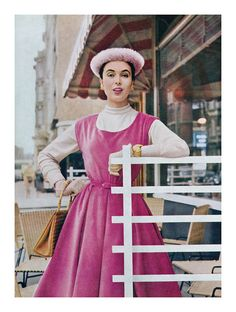 1955 fashion photograph by Tom Kublin for Vogue magazine. #vintage #1950s #dresses #pink