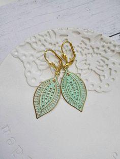 Gold Brass Patina Boho Earrings vintage style filigree earings spring green leaves fashion jewelry gift for girlfriend mother sister by MyJewelsGarden Myjewelsgarden Resin Jewellery