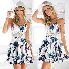 White Lace Hollow Out Print Dress