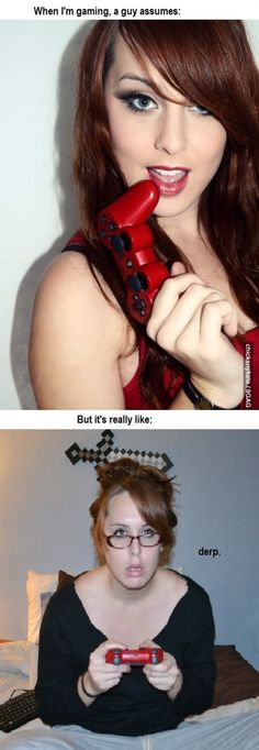 EXPECTATION VS REALITY: Girl Gamer. So true! Can I also say I love that red controller