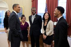 CSB Student Mai Tong Yang joined four other Boys & Girls Clubs of America Youth of the Year award finalists in the Oval Office this week to meet President Obama.   Official White House Photo (Pete Souza)