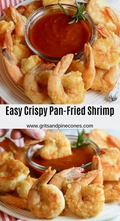 Easy Crispy Pan-Fried Shrimp Easy Crispy Pan-Fried Shrimp are fresh, succulent, briny Gulf shrimp, lightly coated with flour and pan-fried in a small amount of olive oil until they are golden brown and delicious. Pan Fried Shrimp, Fried Shrimp Recipes, Breaded Shrimp, Appetizers For A Crowd, Seafood Appetizers, Shrimp Dishes, Seafood Dinner, Seafood Recipes, Cooking Recipes