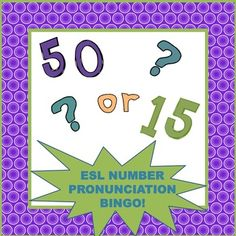 FREEBIE! ESL Lesson: This short lesson will help English language learners notice the pronunciation difference between pairs of numbers such as fifteen and fifty. Students will then practice their speaking and listening skills to create a bingo card, and then they will have further listening practice as they play the game. All lesson instructions are included, as well as bingo cards and numbers and materials for game variation.