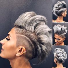 Hot Short Hairstyles - You think about getting a sexy short haircut? Let convince you of the most beautiful hairstyles for short hair Funky Hairstyles, Elegant Hairstyles, Short Hairstyles For Women, Wig Hairstyles, Beautiful Hairstyles, Short Grey Hair, Long Hair Cuts, Pelo Multicolor, Short Human Hair Wigs