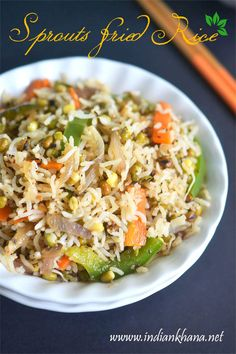 Healthy, delicious sprouts fried rice with green bean (moong dal) sprouts and vegetables, perfect lunch box.