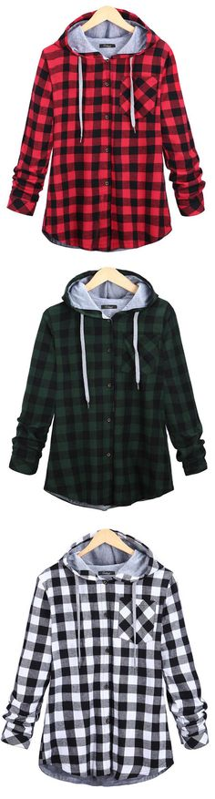 Plaid lovers Attention! This hooded shirt coat is detailed with drawstring, front pocket&button all the way. Take it at Cupshe.com .