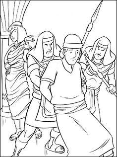 Yosef, Joseph falsely accused by Potipher's evil wife. Jozef en de vrouw van Potifar. Bible coloring page