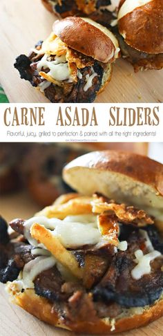Carne Asada Sliders are a great easy family dinner idea that's perfect for warm weather holidays. The perfect grilled beef sandwich recipe for summer. Loaded with all the good stuff- everyone will RAV (Mini Sandwich Recipes) Sandwich Recipes, Beef Sandwich, Meat Recipes, Crockpot Recipes, Cooking Recipes, Potato Recipes, Cooking Ideas, Casserole Recipes, Pasta Recipes