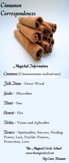 Cinnamon correspondences. The Magical Circle School www.themagicalcircle.net