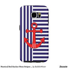 Nautical Red Anchor Navy Stripes Galaxy S6 Case Samsung Galaxy S6 Cases