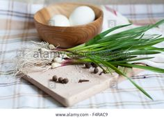 Download this stock image: Garlic and eggs - F4RAC9 from Alamy's library of millions of high resolution stock photos, illustrations and vectors.