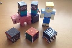 Paper minecraft dices, pig, my skin and two minis