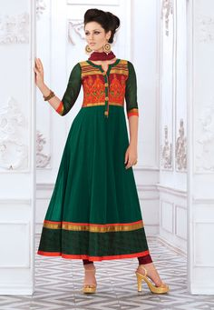 Dark #Green Cotton Readymade #AnarkaliChuridarKameez