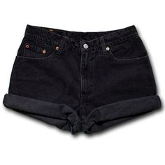 Vintage 90s Levi's Black Dark Wash Colored High Waisted Rise Cut Offs... ❤ liked on Polyvore featuring shorts, high-waisted shorts, cut-off shorts, high waisted jean shorts, levi shorts and cut off denim shorts