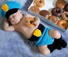 Newborn photo police sleeping with donut  <3