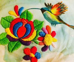Mexican Embroidery, Hungarian Embroidery, Crewel Embroidery, Hand Embroidery Patterns, Cross Stitch Embroidery, Bird Applique, Needlepoint, Needlework, Paisley